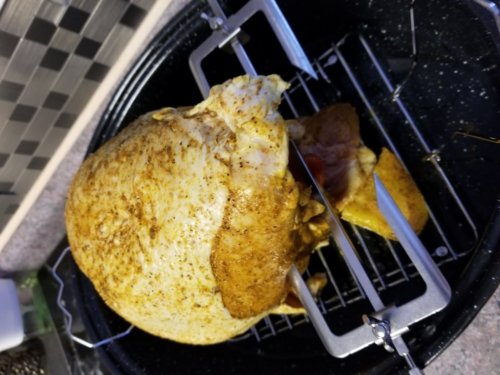 Turkey breast preparing to roast must hack it up to stand up without wings and legs! Healthy  and less fat is the breast meat!