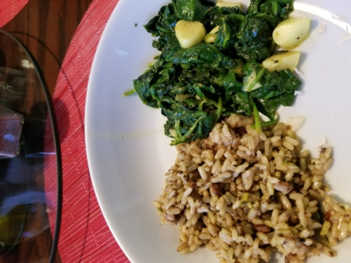 Sauteed Spinach w/Garlic and Brown rice mix