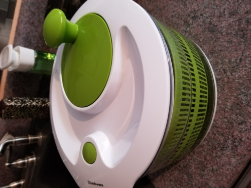 The Salad Spinner. Use after washing lettuce, spinach or even shreddedcabbage!