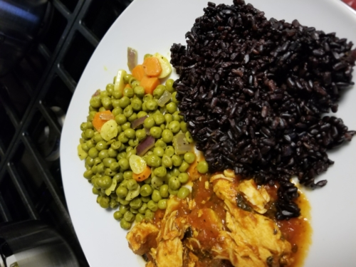 Black Rice, Peas/Garlic Mix and Red Pepper Salsa Baked Chicken breasts
