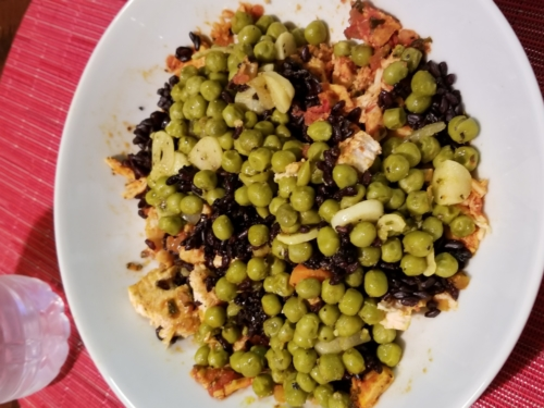 Sauteed Peas, garlic, black rice and salsa baked chicken breasts