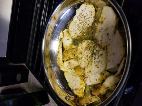 Baked and Sauteed Sliced Italian Chicken Breasts